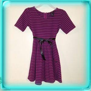 Forever 21 purple black striped knit dress girls